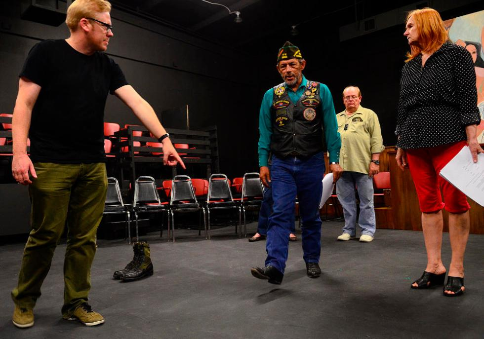 "apl090914f/ASECTION/ Pierre-Louis/JOURNAL090914 From left ""Telling, Albuquerque"" director Max Rayneard,,  instructs Ernest Garcia,,Mike Miller ,, and Marykay Chapman,, during a rehearsal  at the Vortex Theater .  Photographed on Tuesday September  9, 2014.  /Adolphe Pierre-Louis/Journal"